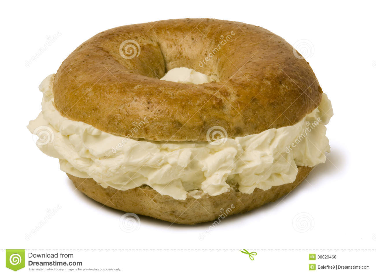 Bagel Overstuffed With Cream Cheese Stock Photo - Image ...