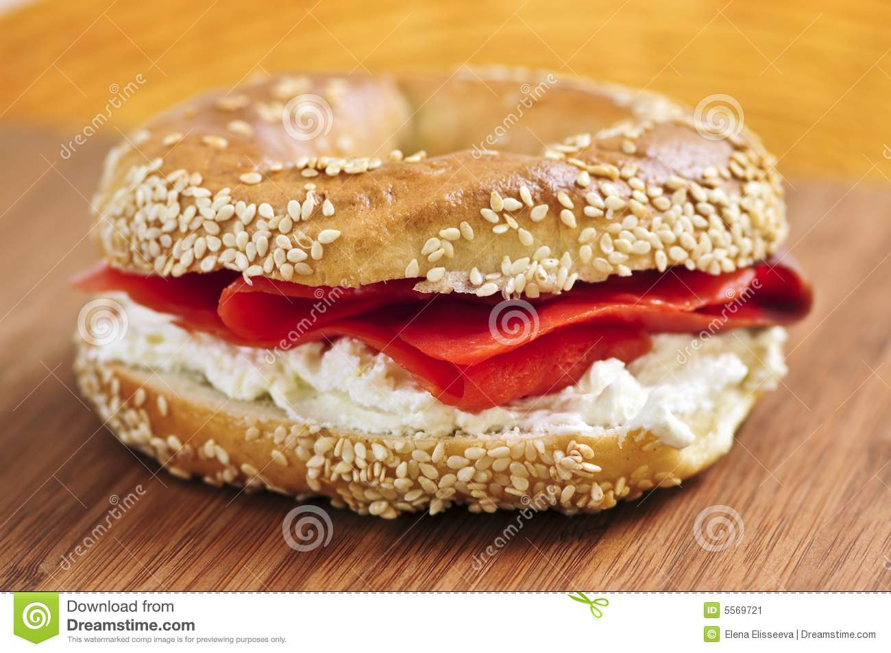 Bagel With Smoked Salmon And Cream Cheese Stock Image - Image: 5569721