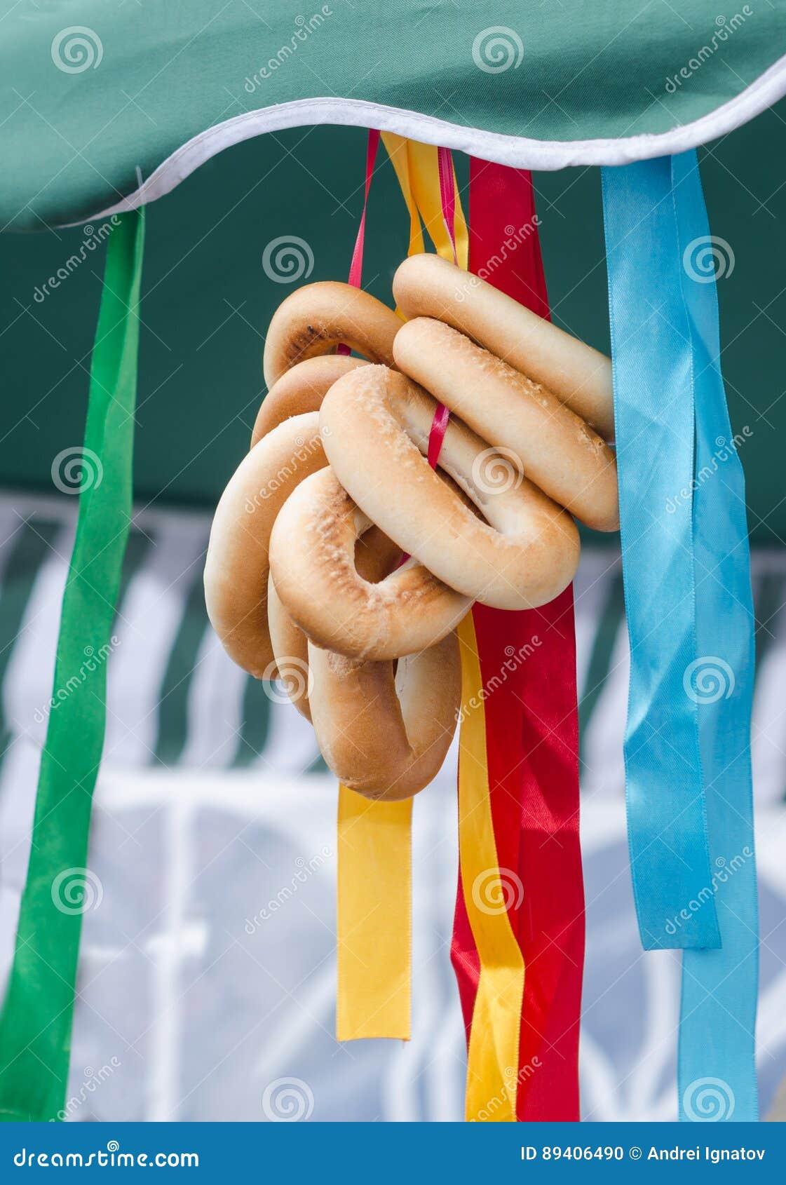 Bagels rurais tradicionais feitos a mão na feira