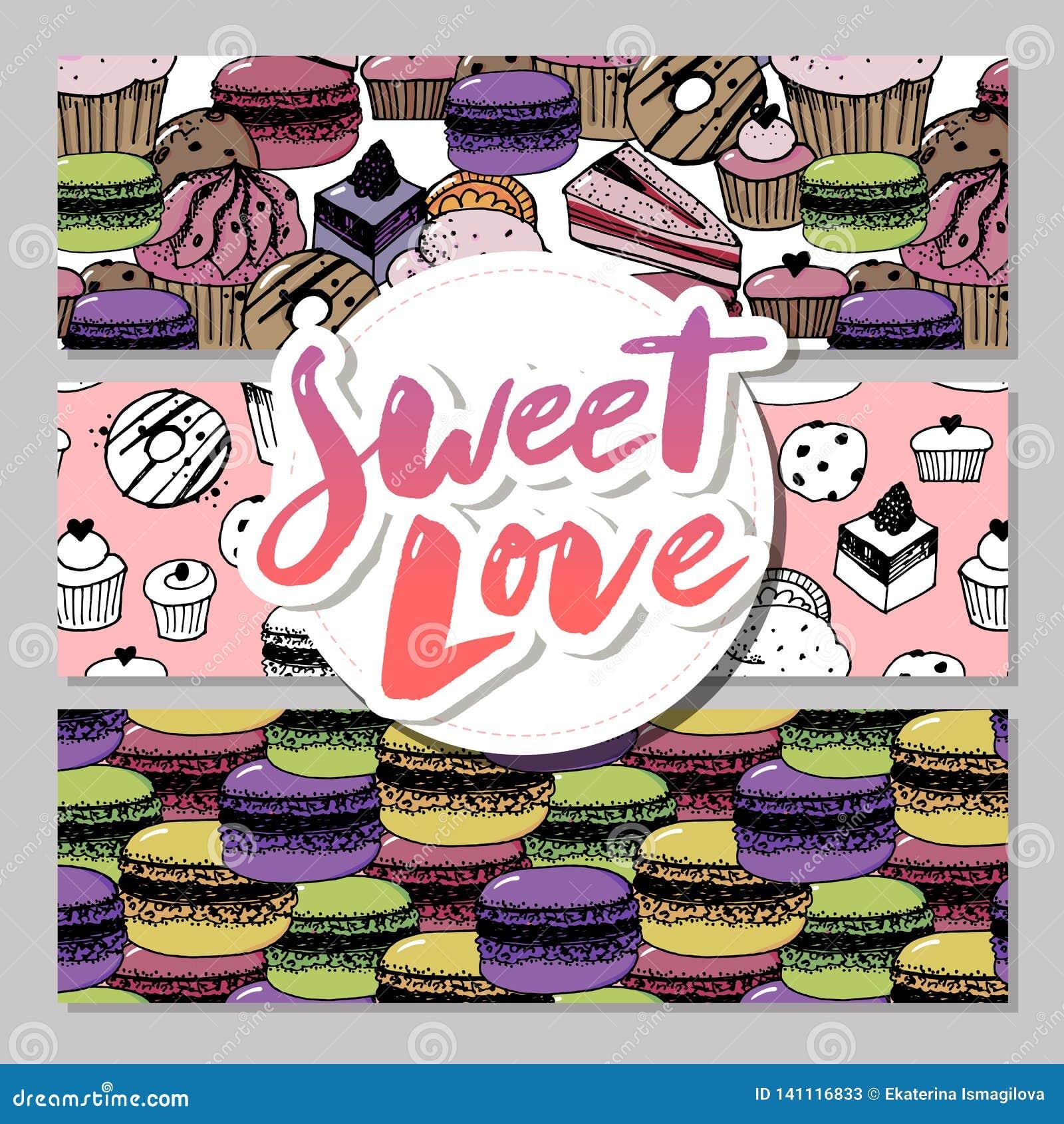 Bageri, baner för bakelsesötsak- och efterrättvektor med kakor och muffin, muffin, pajer och tarts, ljusbruna puddingar för vanil