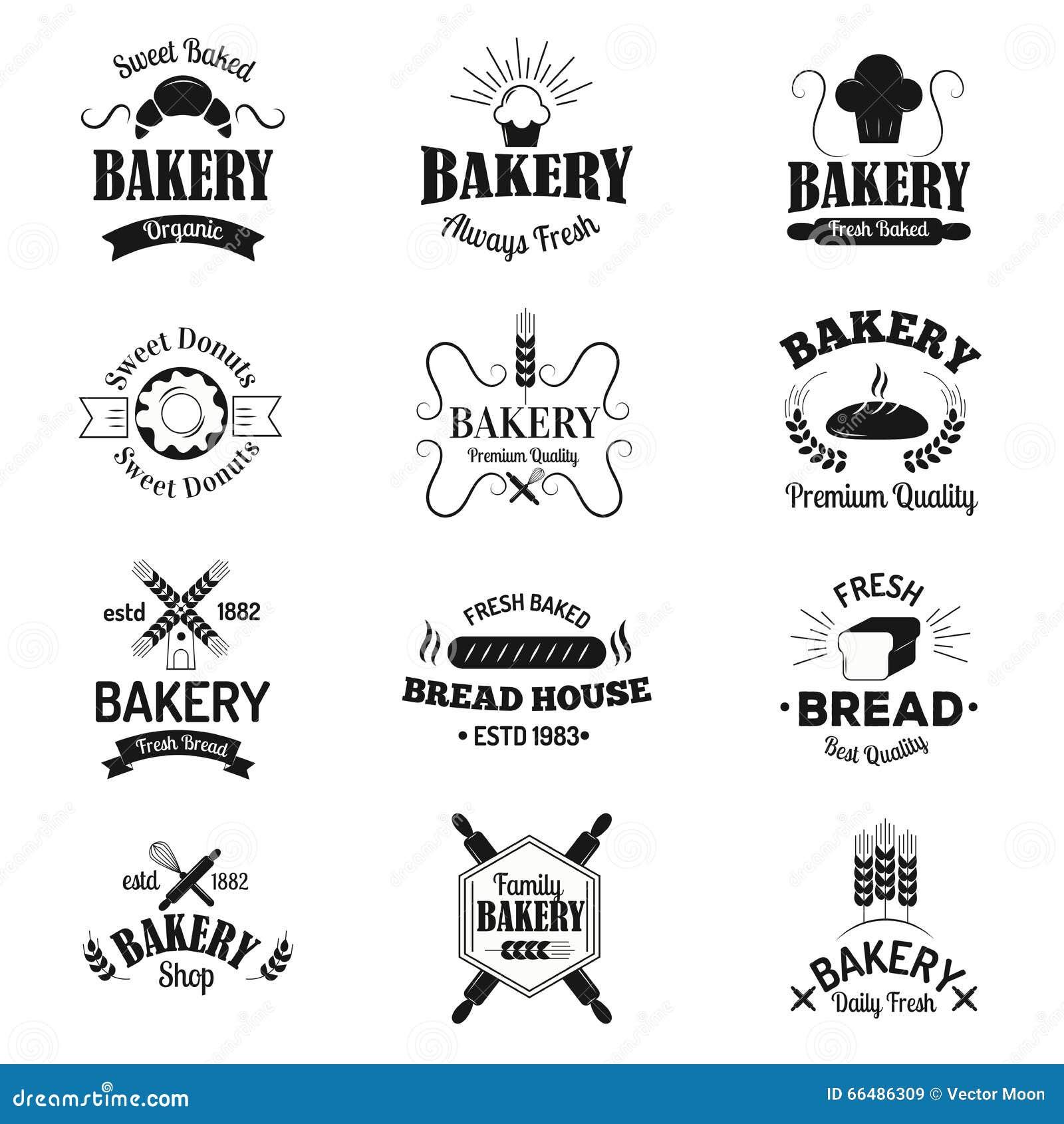 Bageriemblem och logosymboler gör den moderna uppsättningen för stilvektorsamlingen tunnare