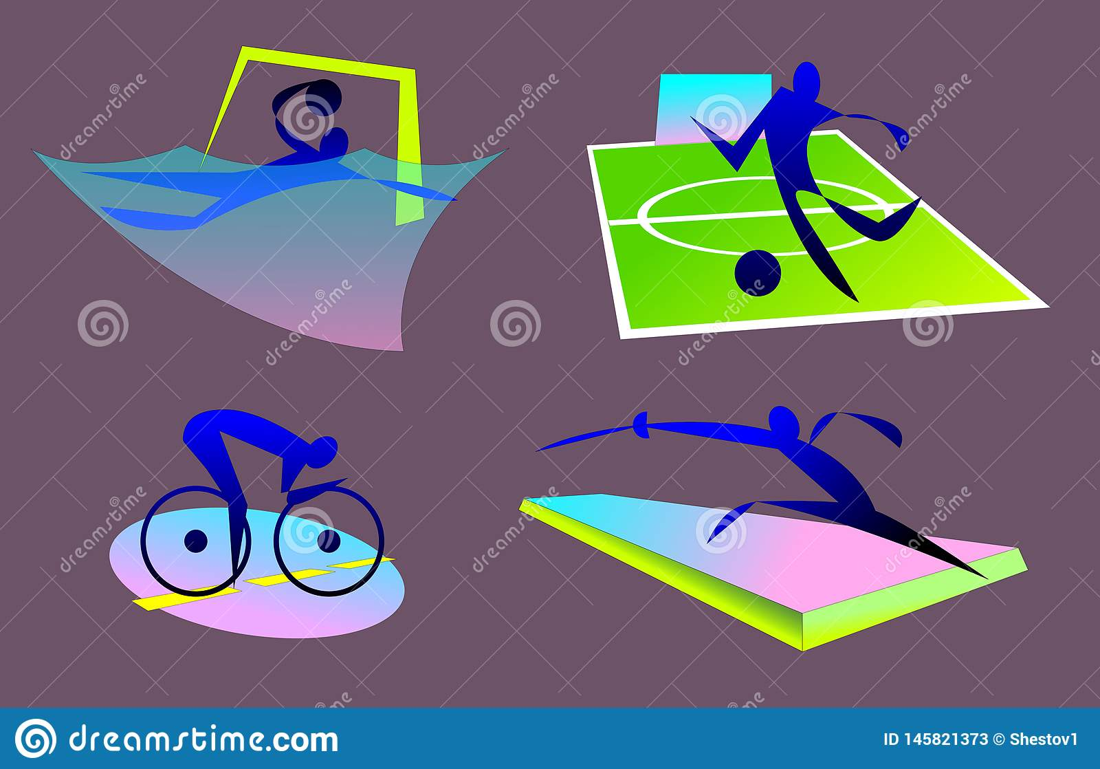Bages lato olimpijscy sporty, waterpolo, bicycling, futbol, fancing
