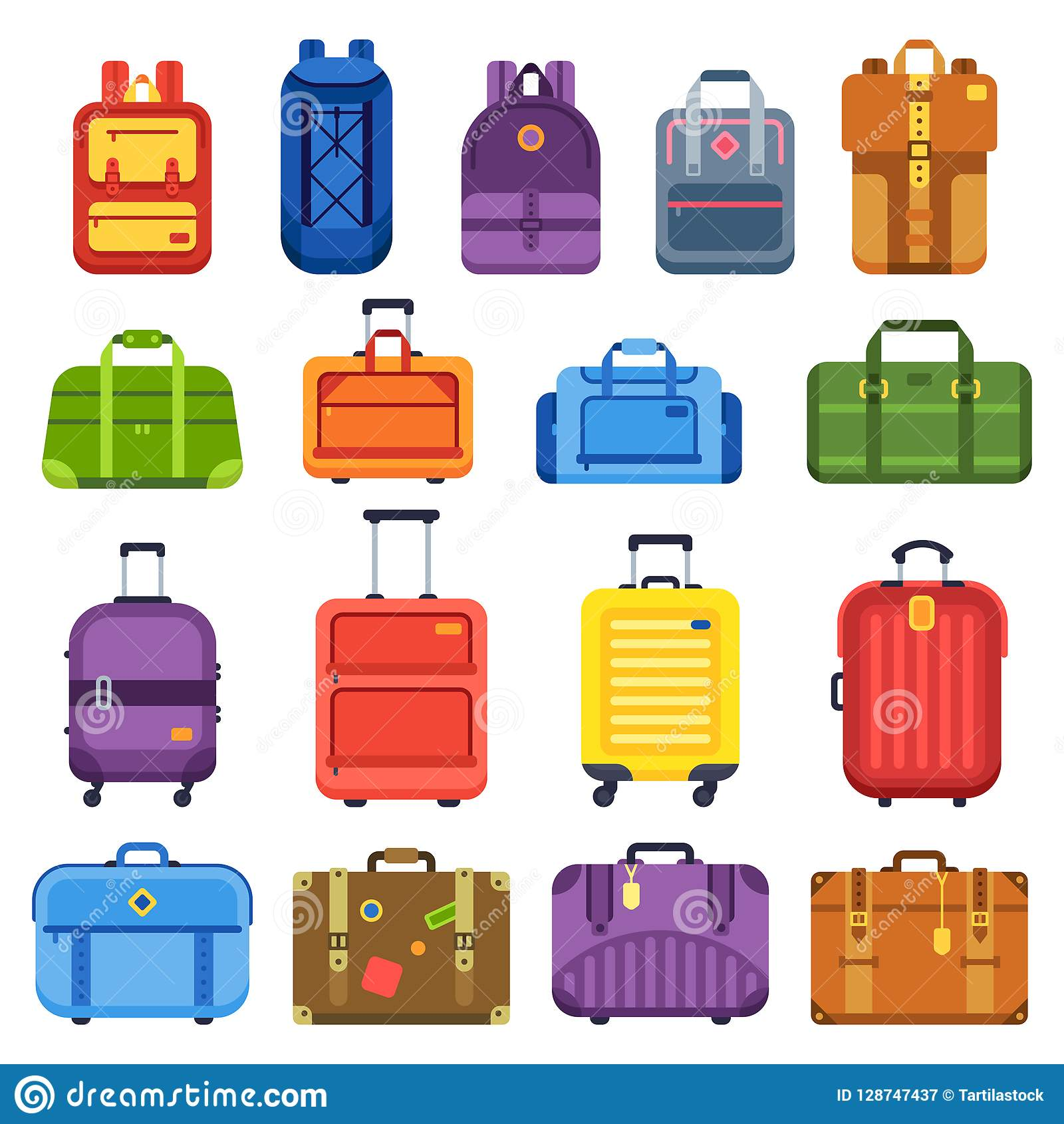 Baggage suitcase. Handle travel bag, luggage backpack and business suitcases isolated flat vector set