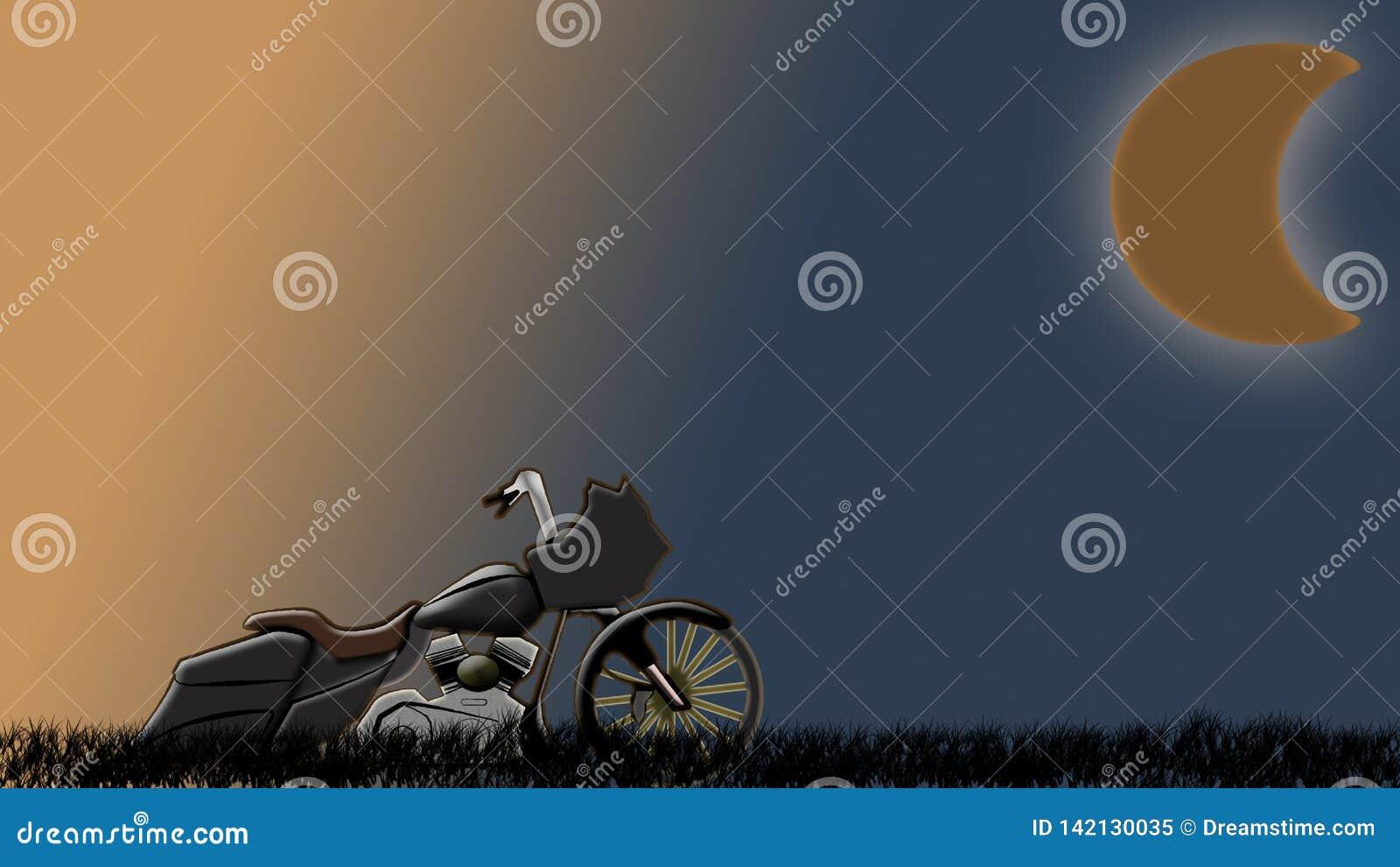 Bagger feito sob encomenda do interruptor inversor na estrada com os céus no por do sol