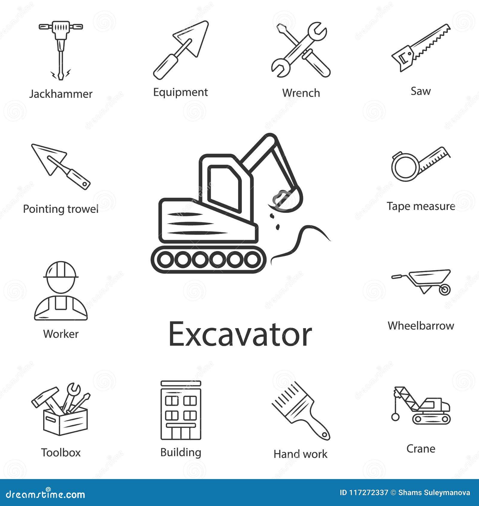 Baggerikone Einfache Elementillustration Baggersymboldesign vom Bausammlungssatz Kann für Netz und Pöbel verwendet werden