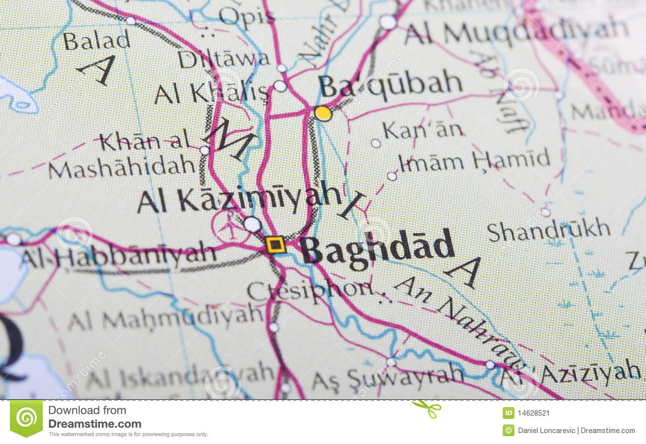 Baghdad map stock image. Image of detail, maps, travel - 14628521