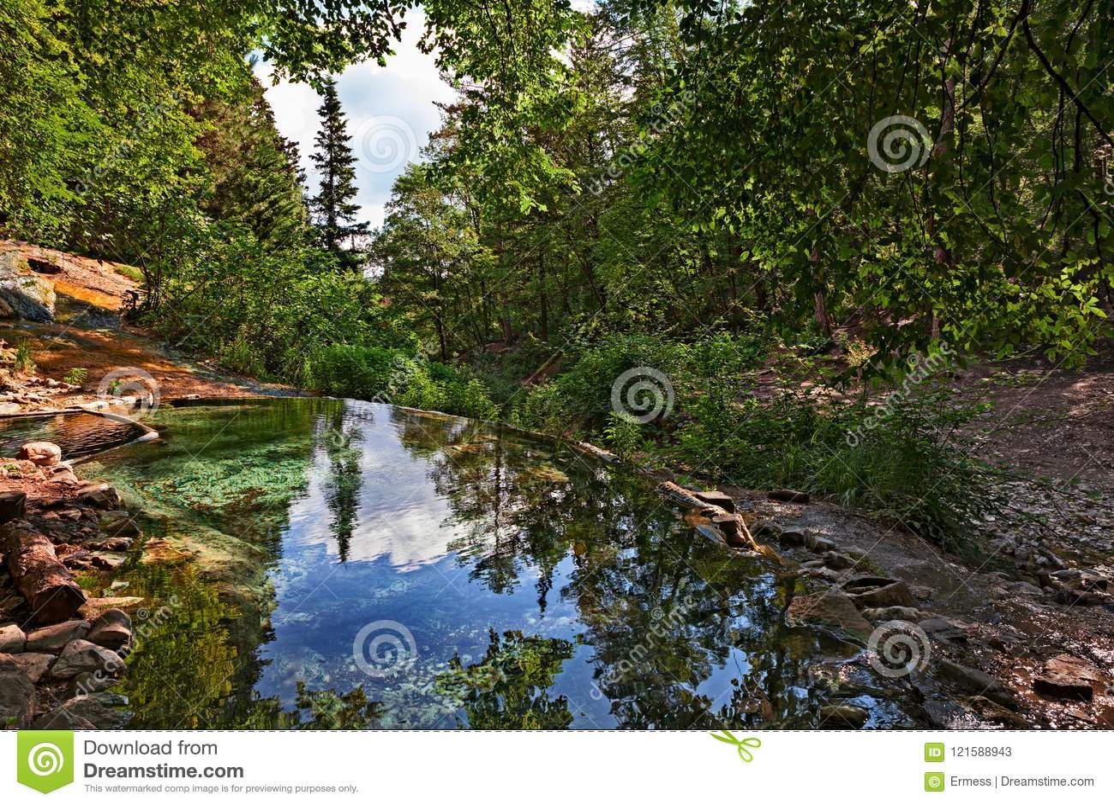 Bagni San Filippo, Siena, Toscanië, Italië: natuurlijke thermische pool i