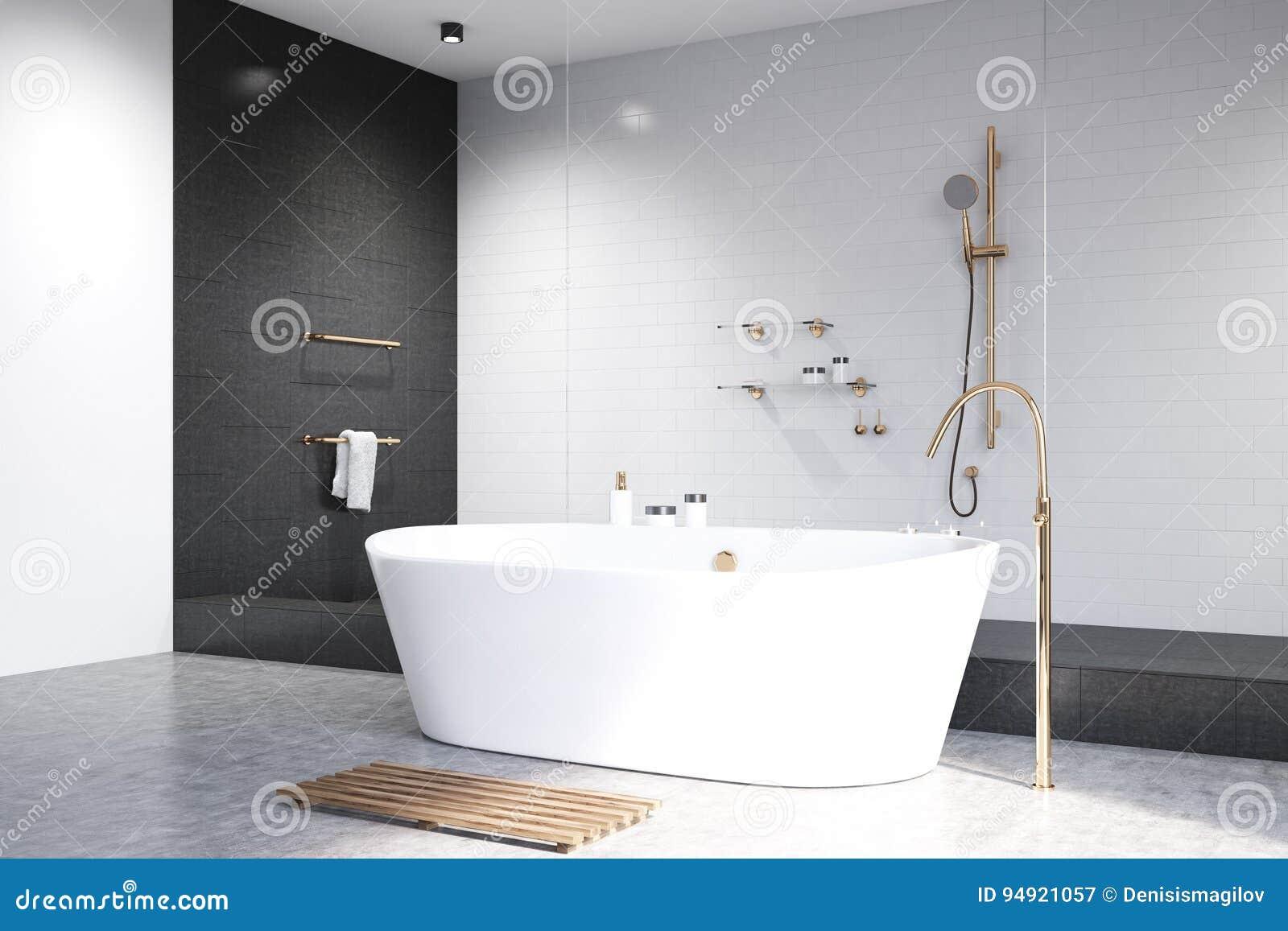 Bagno bianco con il lato nero delle mattonelle illustrazione di