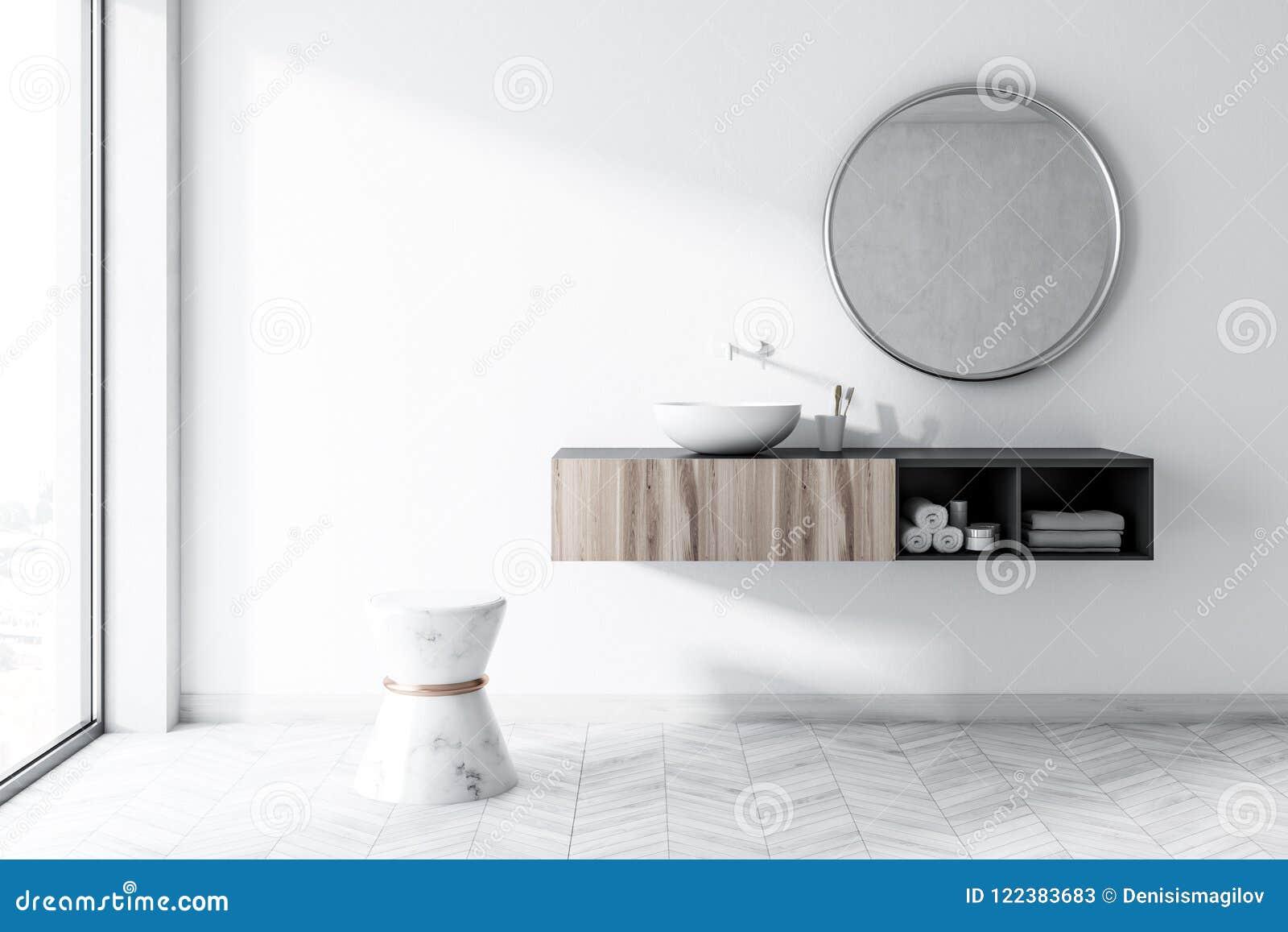 Specchio Per Lavandino Angolare bagno bianco con un lavandino rotondo, specchio