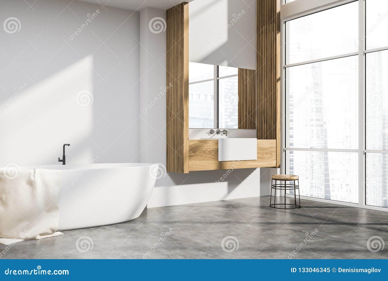 Bagno Legno E Bianco : Bagno bianco e di legno del sottotetto illustrazione di stock