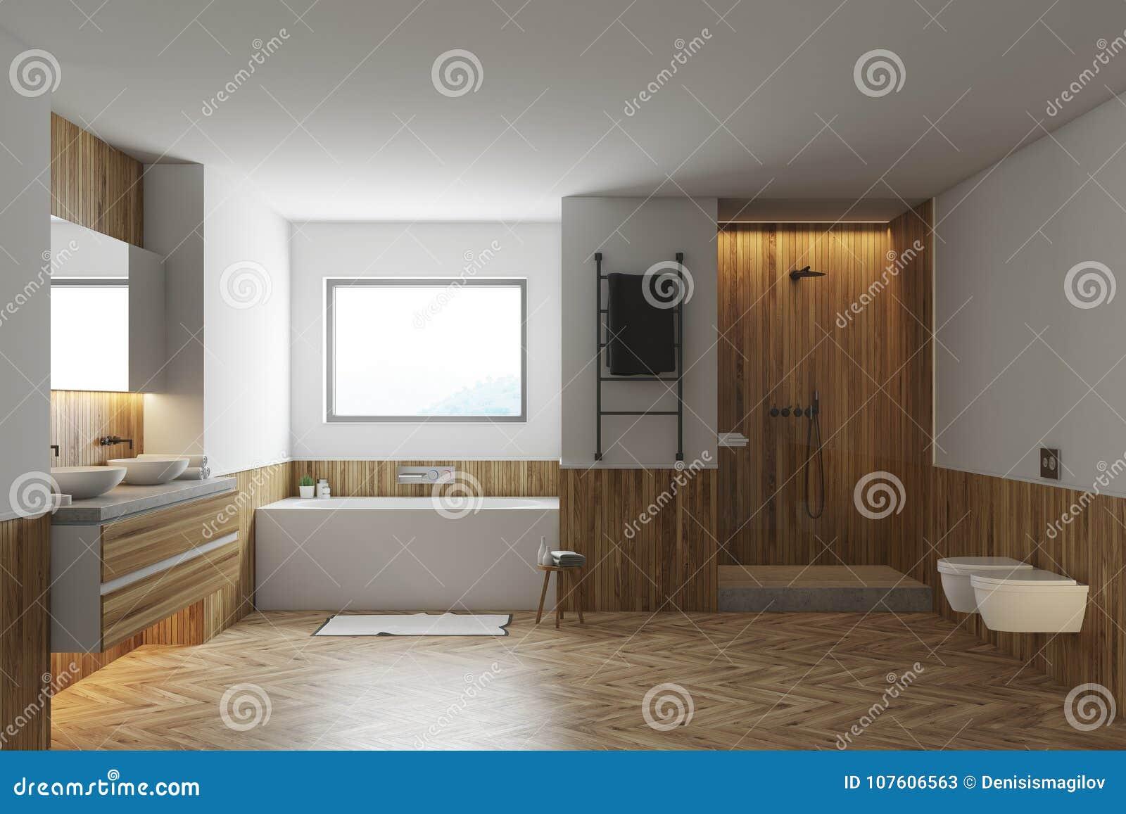 Bagno Legno E Bianco : Bagno bianco e di legno vasca bianca lavandini illustrazione di