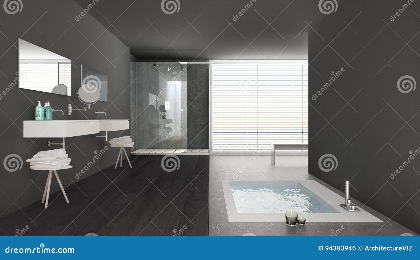 Bagno Minimal Bianco Rivestimento Nero Interior Design : Bagni neri moderni foto di progetti design t