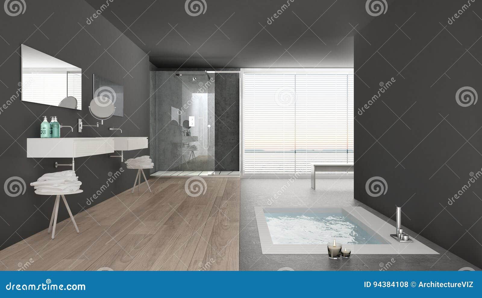 Vasca Da Bagno Disegno : Bagno bianco e grigio minimalista con la vasca da bagno e