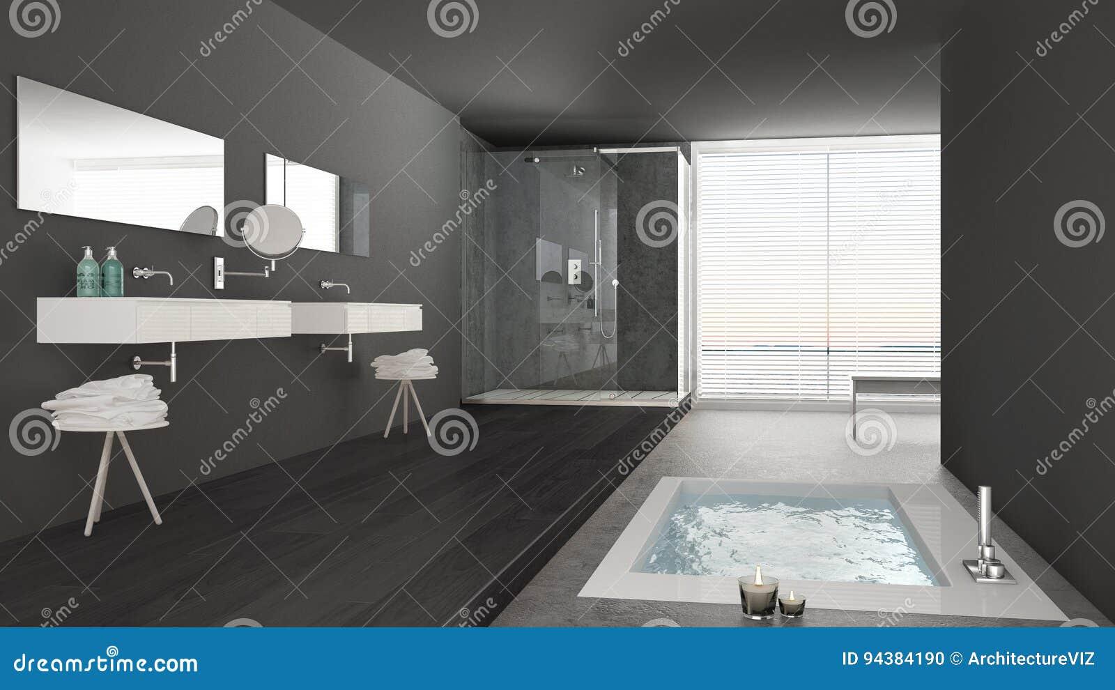 Bagno Grigio Minimal Con Lavabo Interior Design : Download bagno bianco e grigio minimalista con la vasca da