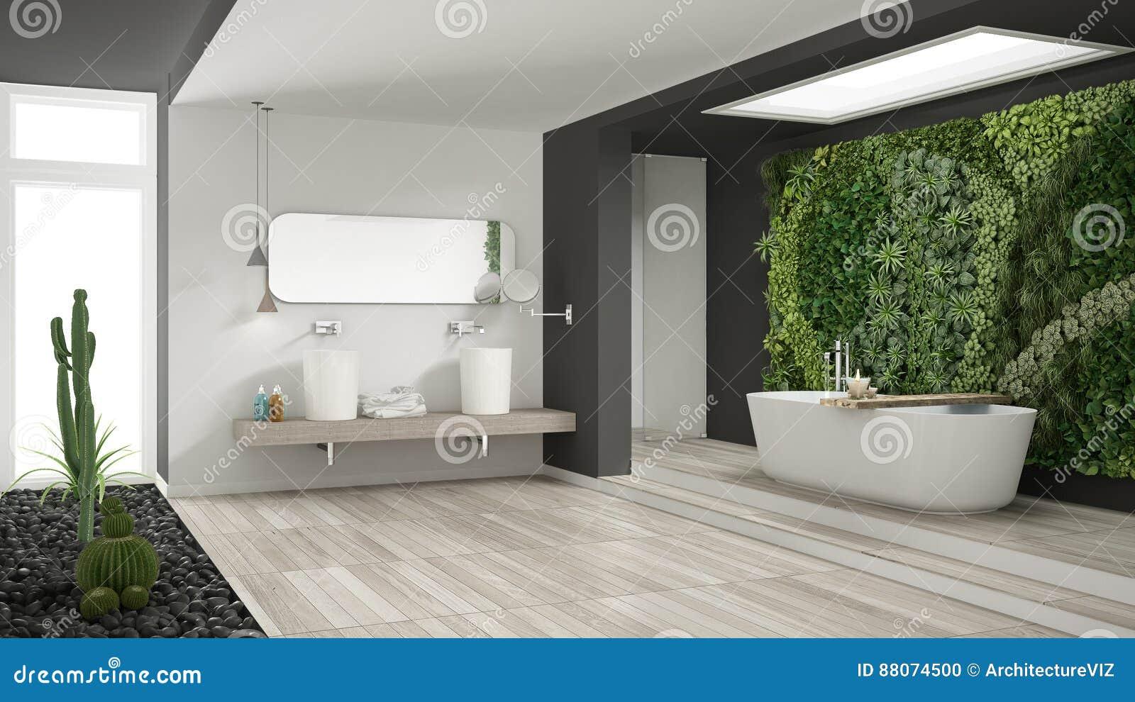Bagno bianco e grigio minimalista con verticale ed il - Bagno grigio e bianco ...
