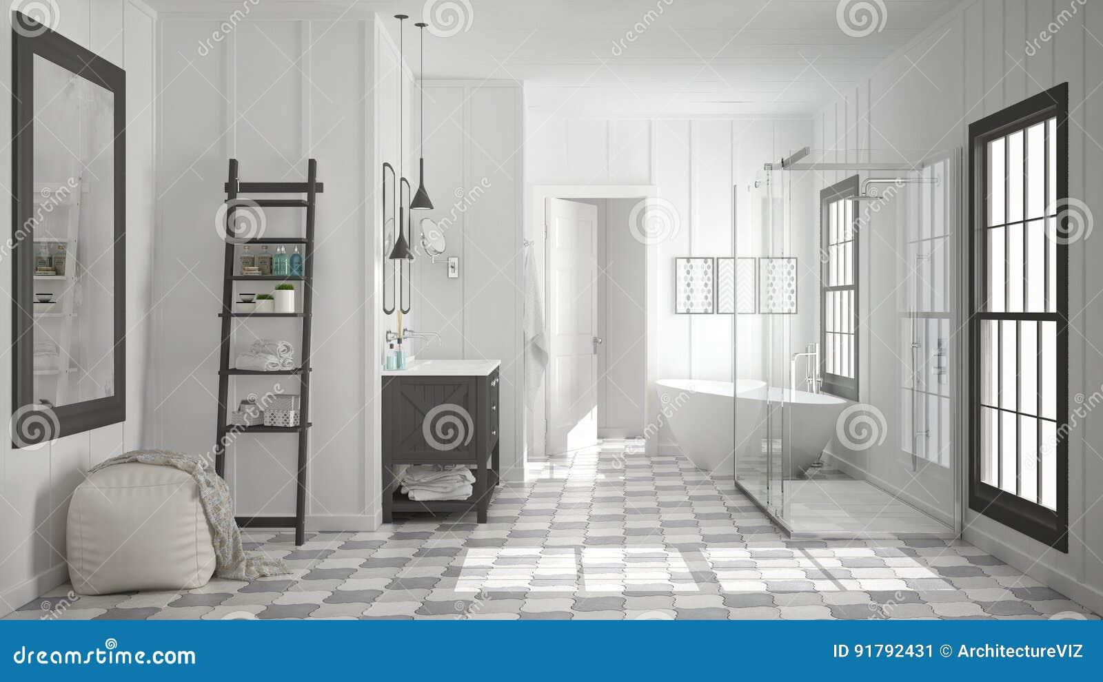 Bagno bianco e grigio minimalista scandinavo doccia vasca
