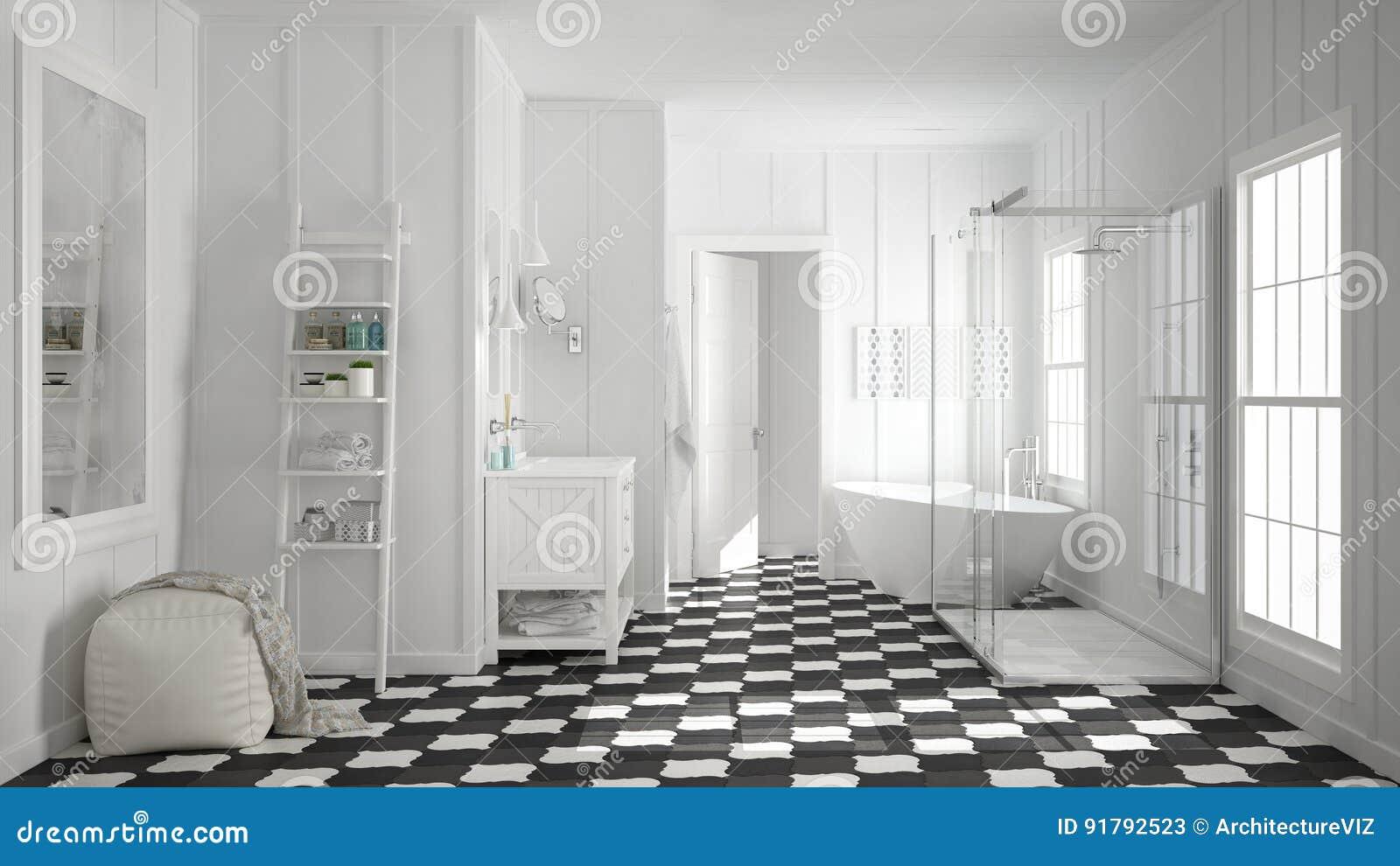 Bagno Design Scandinavo : Bagno bianco e grigio minimalista scandinavo doccia vasca