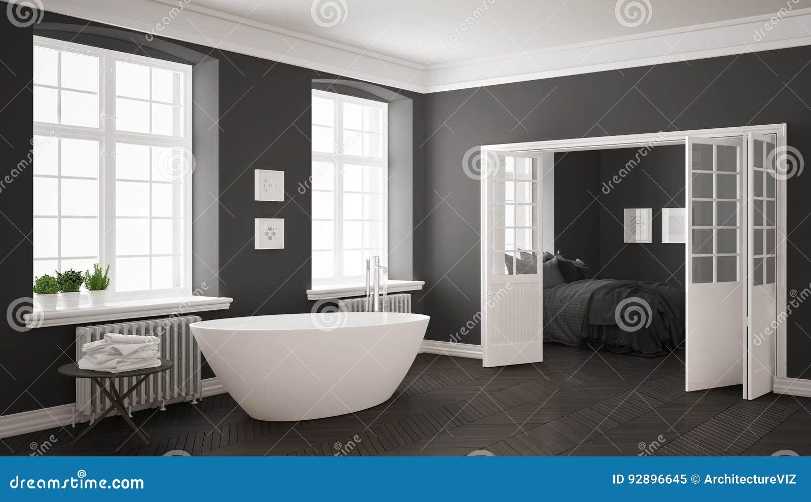 Camera Da Letto Bianco E Grigio : Bagno bianco e grigio scandinavo minimalista con la camera da