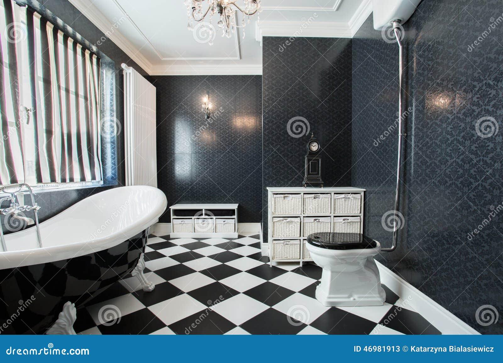 Bagno bianco e nero immagine stock immagine di nuovo 46981913 - Bagno bianco nero ...