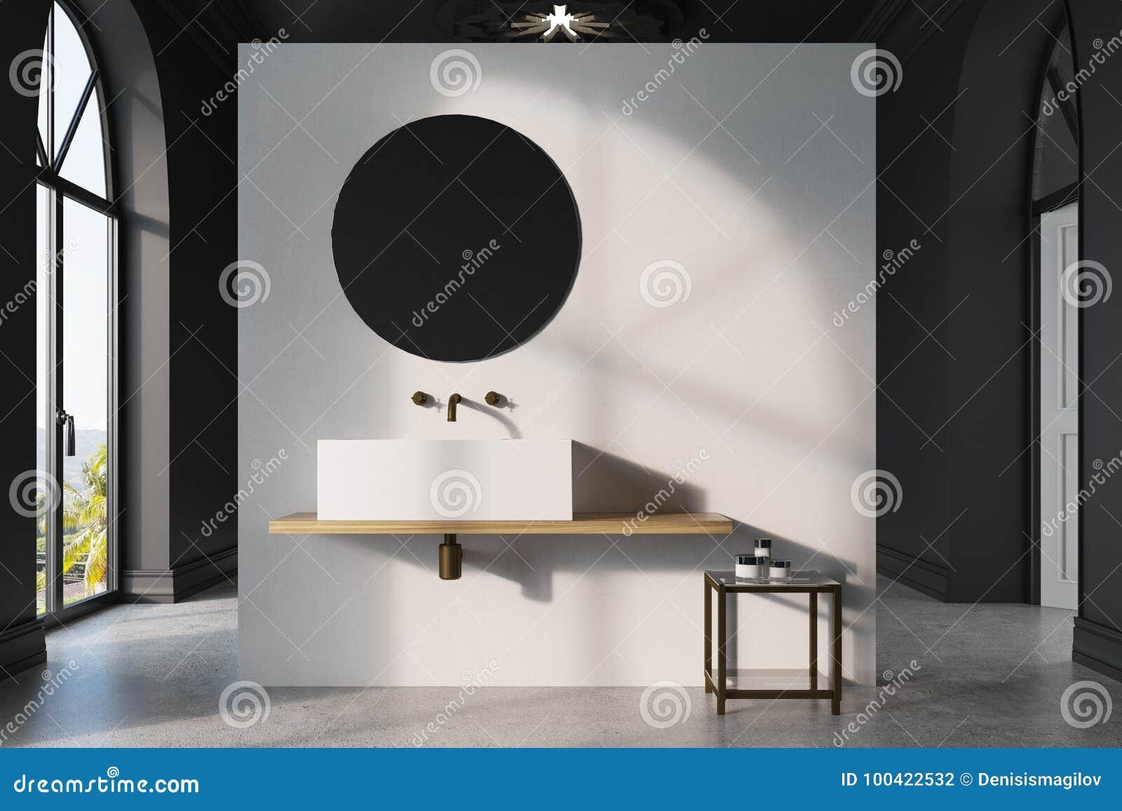Specchio Bagno Bianco.Bagno Bianco E Nero Lavandino Specchio Illustrazione Di Stock