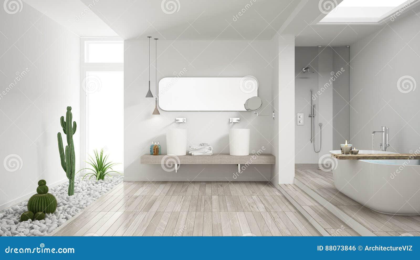 Bagno Legno Bianco : Bagno bianco minimalista con il giardino succulente pavimento di