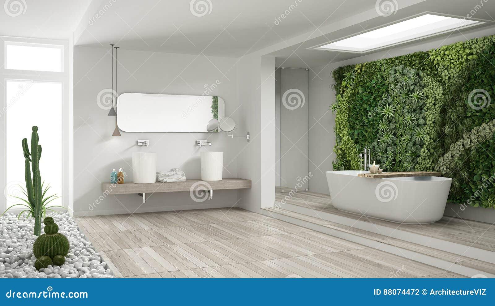 Giardini Moderni E Contemporanei : Bagno bianco minimalista con il giardino verticale e succulente wo