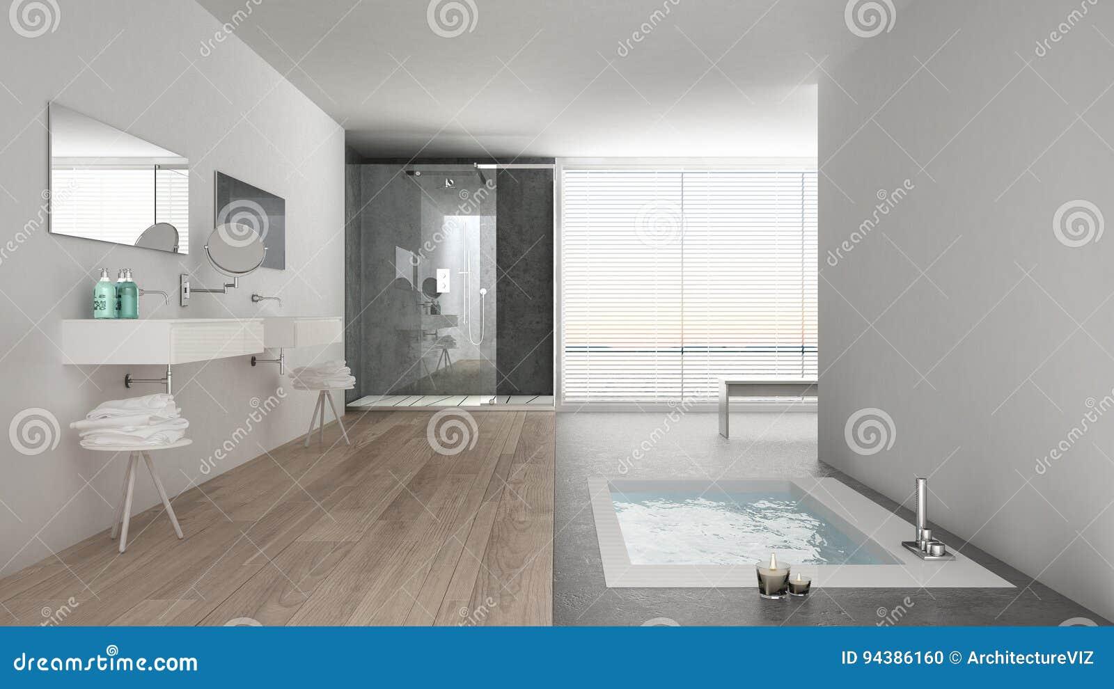 Bagno Bianco Minimalista Con La Vasca Da Bagno E La Finestra Panoramica Fotografia Stock Immagine Di Disegno Eleganza 94386160