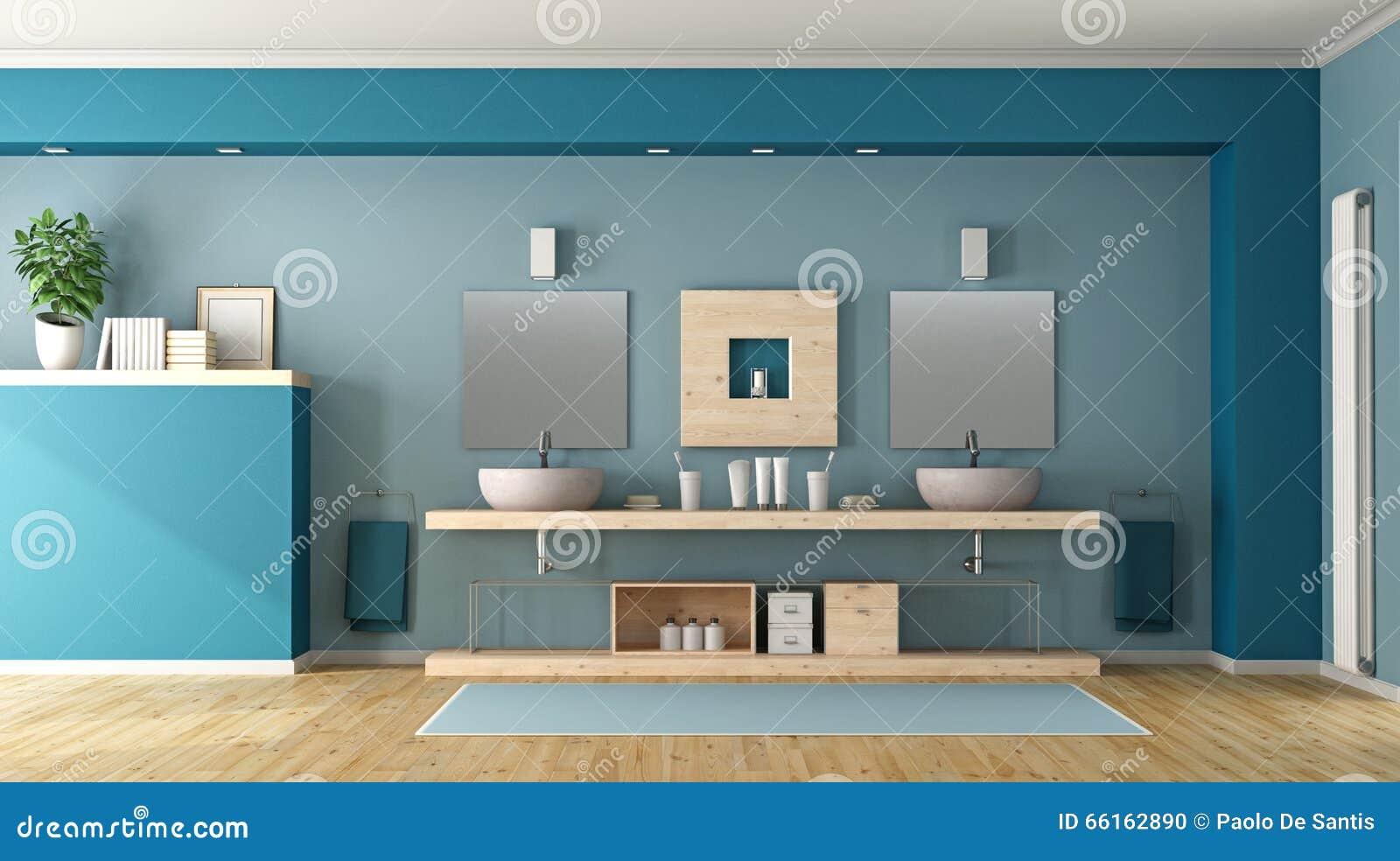 Bagno blu con il doppio lavandino illustrazione di stock - Lavandino bagno doppio ...