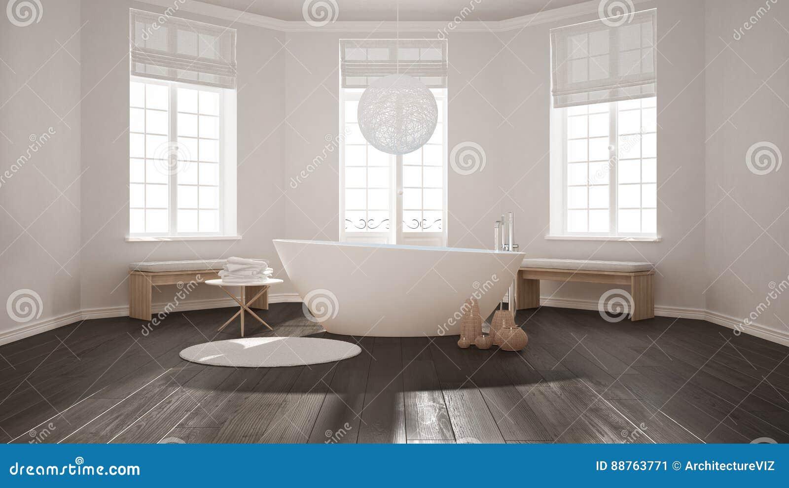 Bagno classico della stazione termale di zen con la vasca