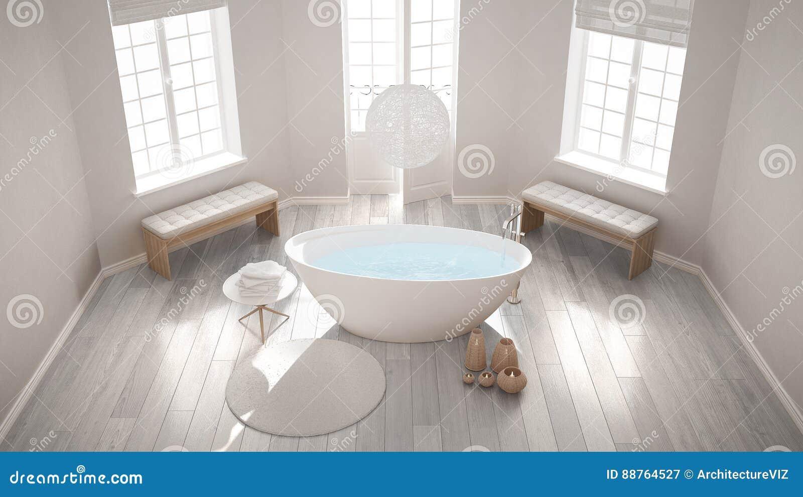 Bagno Design Scandinavo : Bagno classico della stazione termale di zen con la vasca