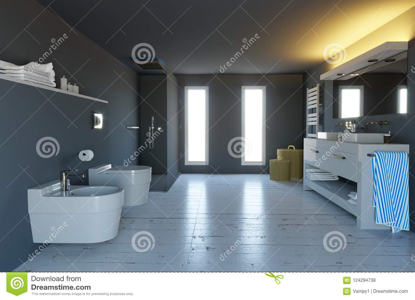 Bagno moderno pulito con sanitari completi u foto stock gilas