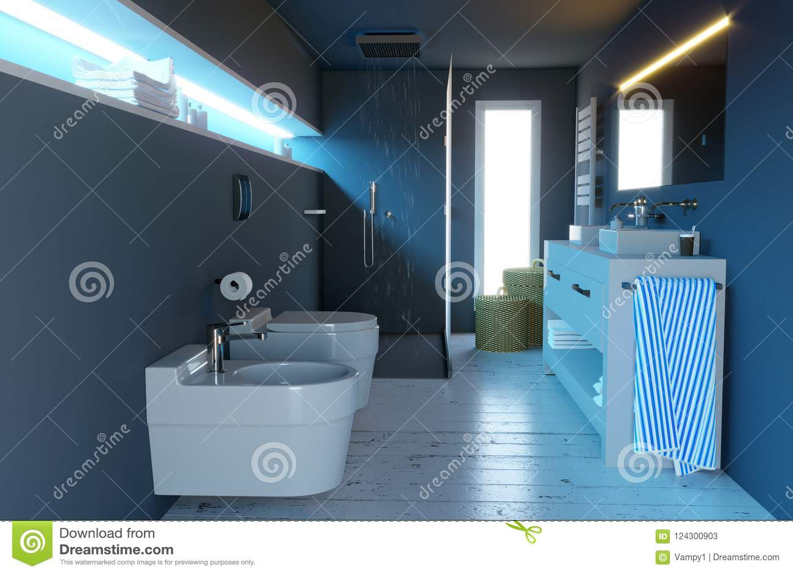 Bagno completi moderni con i montaggi sanitari la doccia e gli