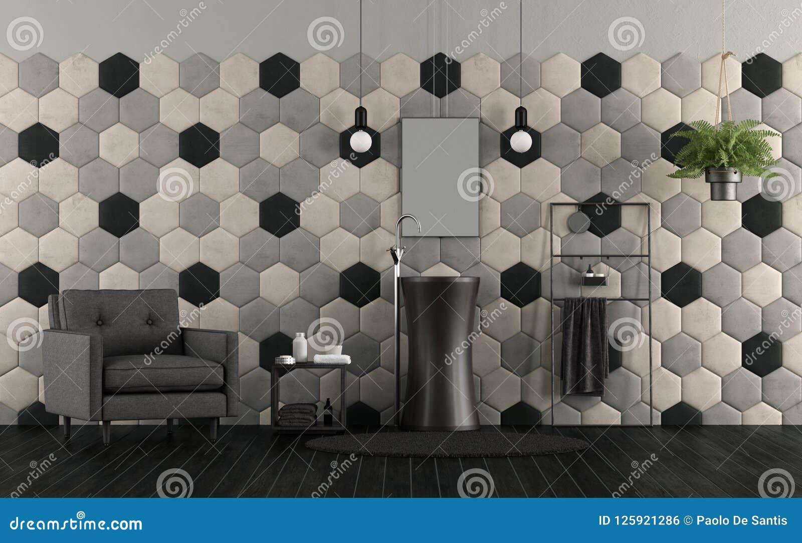 Bagno con il lavandino e le mattonelle esagonali illustrazione di