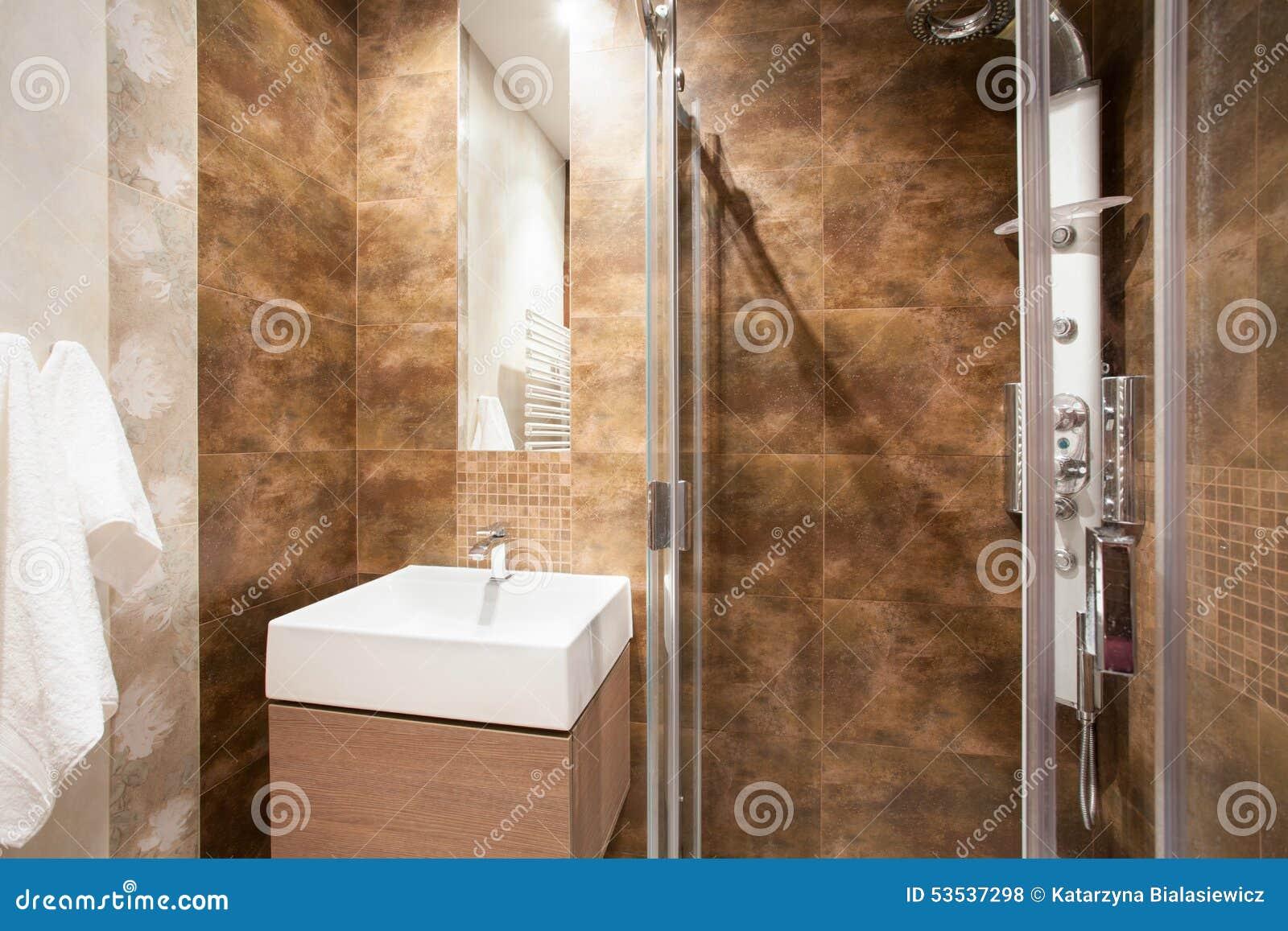 Bagno con la doccia ed il lavandino fotografia stock - Prezzi lavandino bagno ...