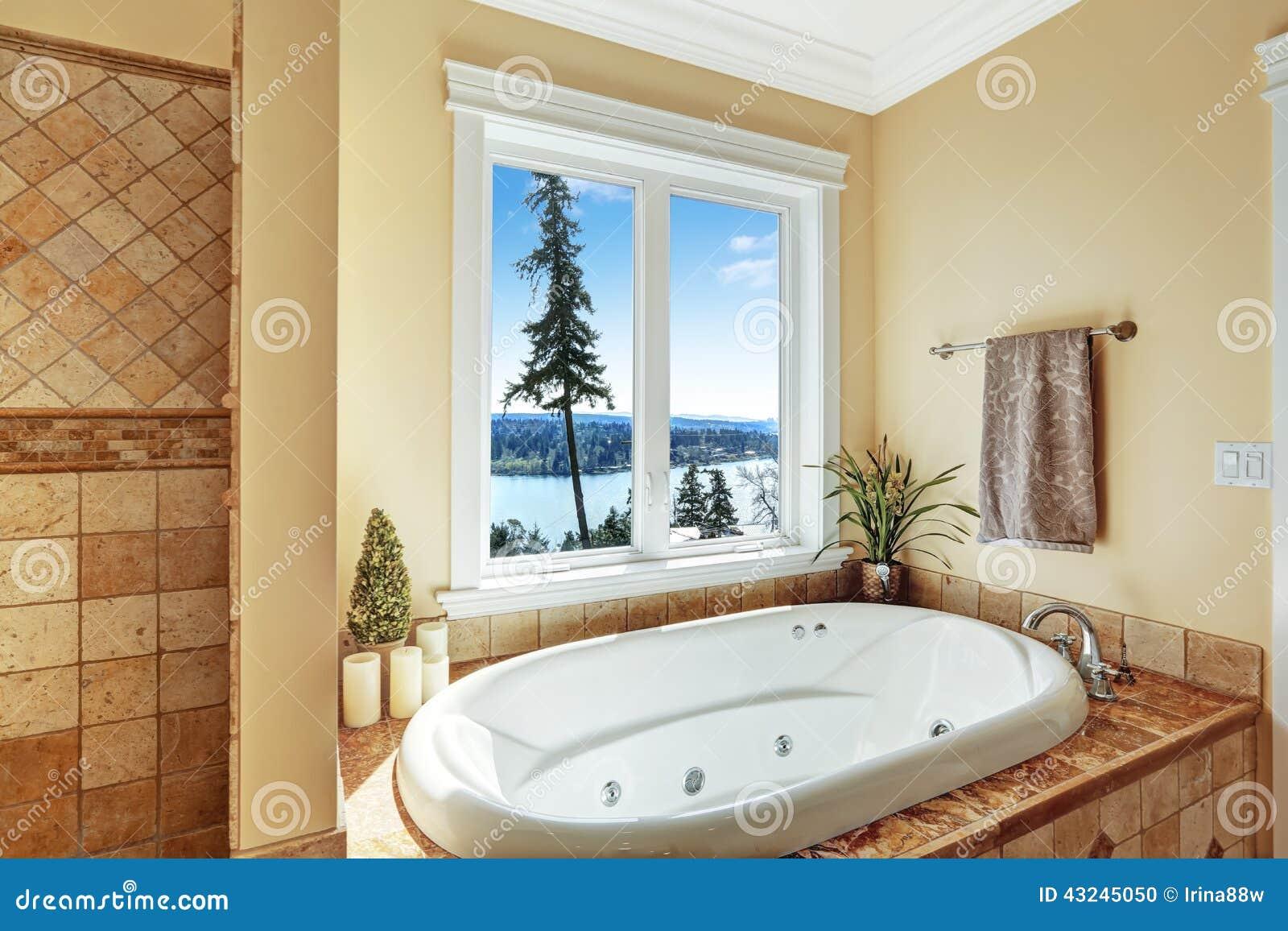 Vasca Da Bagno Vista : Bagno con la vasca da bagno del mulinello e la bella vista