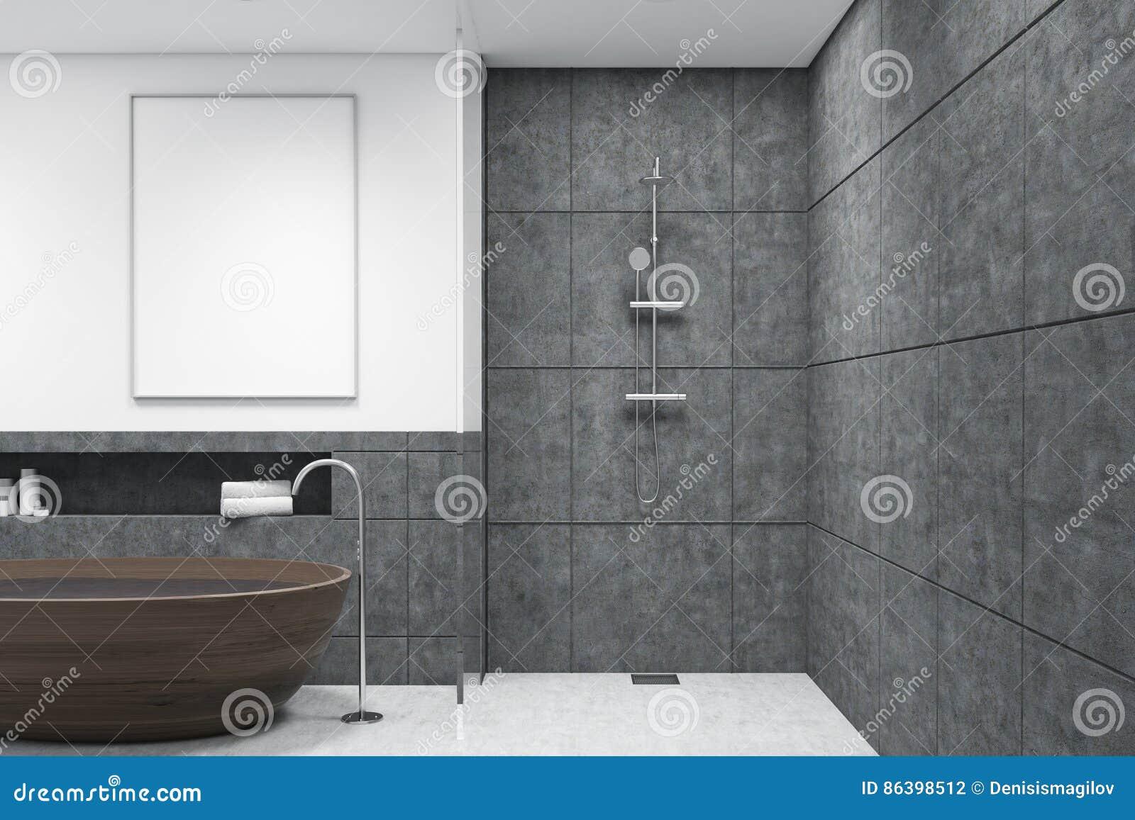 Vasca Da Bagno Verticale : Bagno con la vasca di legno manifesto verticale scuro