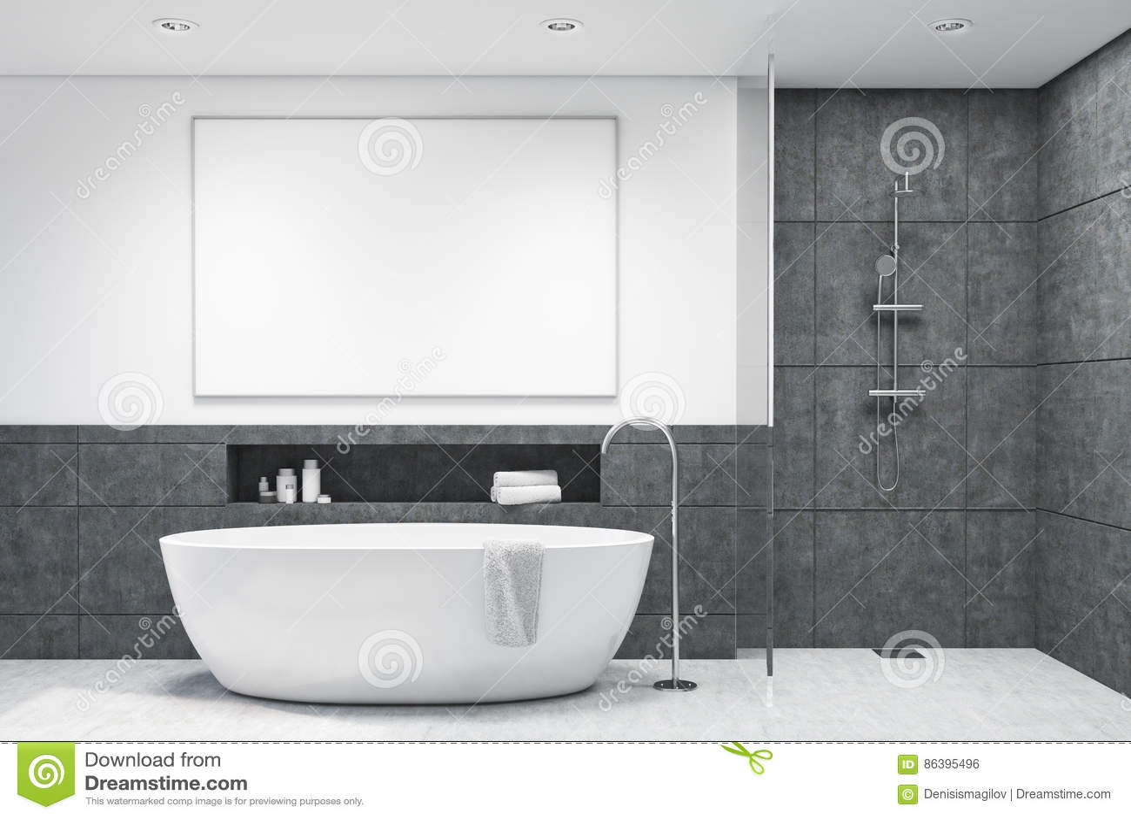 Bagno con le mattonelle grigio scuro illustrazione di stock