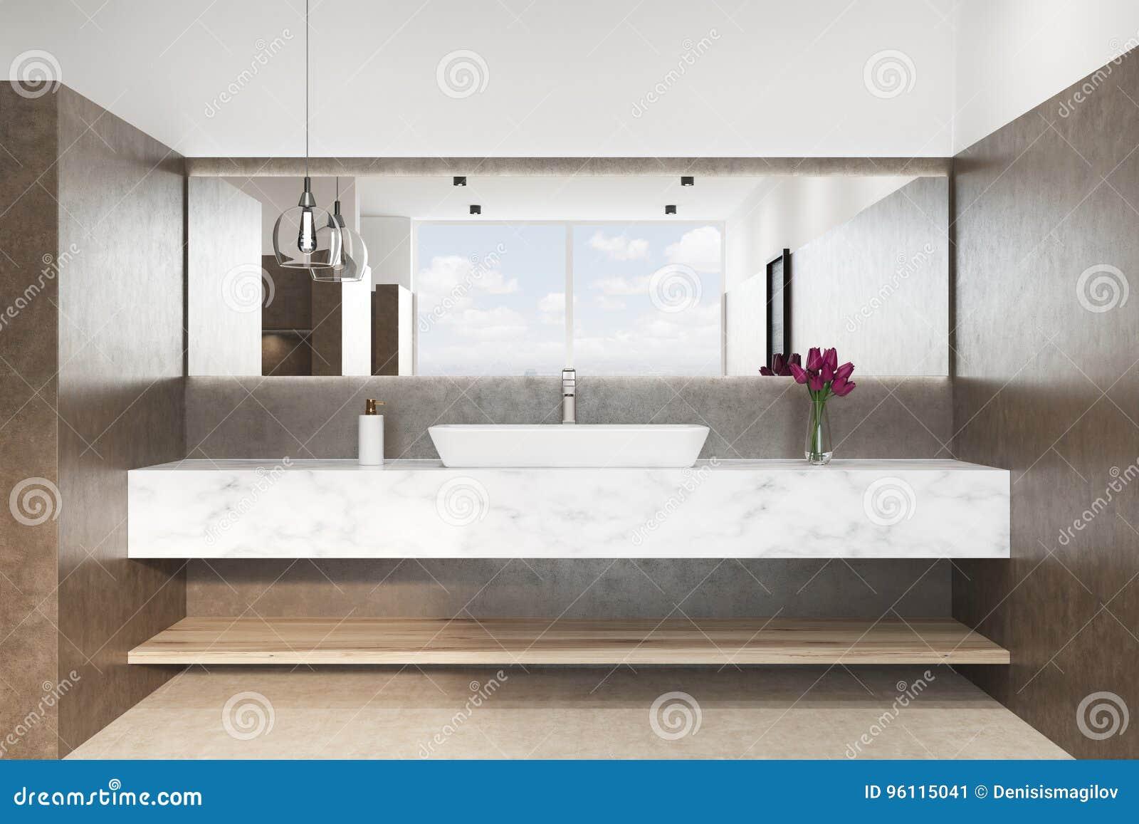 Bagno con un lavandino di marmo fine di brown su illustrazione di