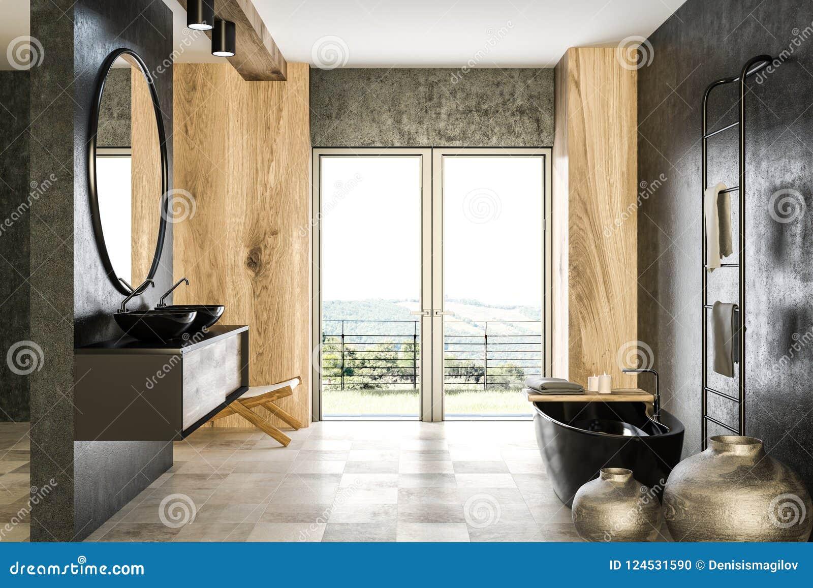 Vasca Da Bagno Francia : Bagno concreto e di legno interno vasca nera illustrazione di