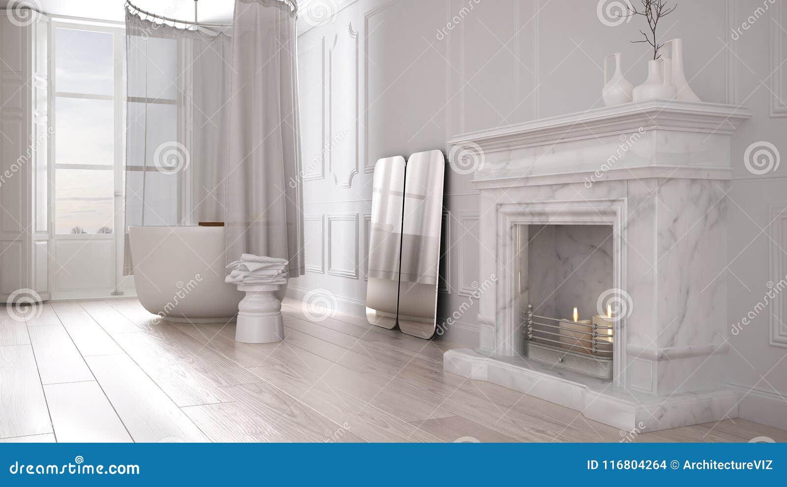 Bagno dannata nello spazio classico con il vecchio pavimento di
