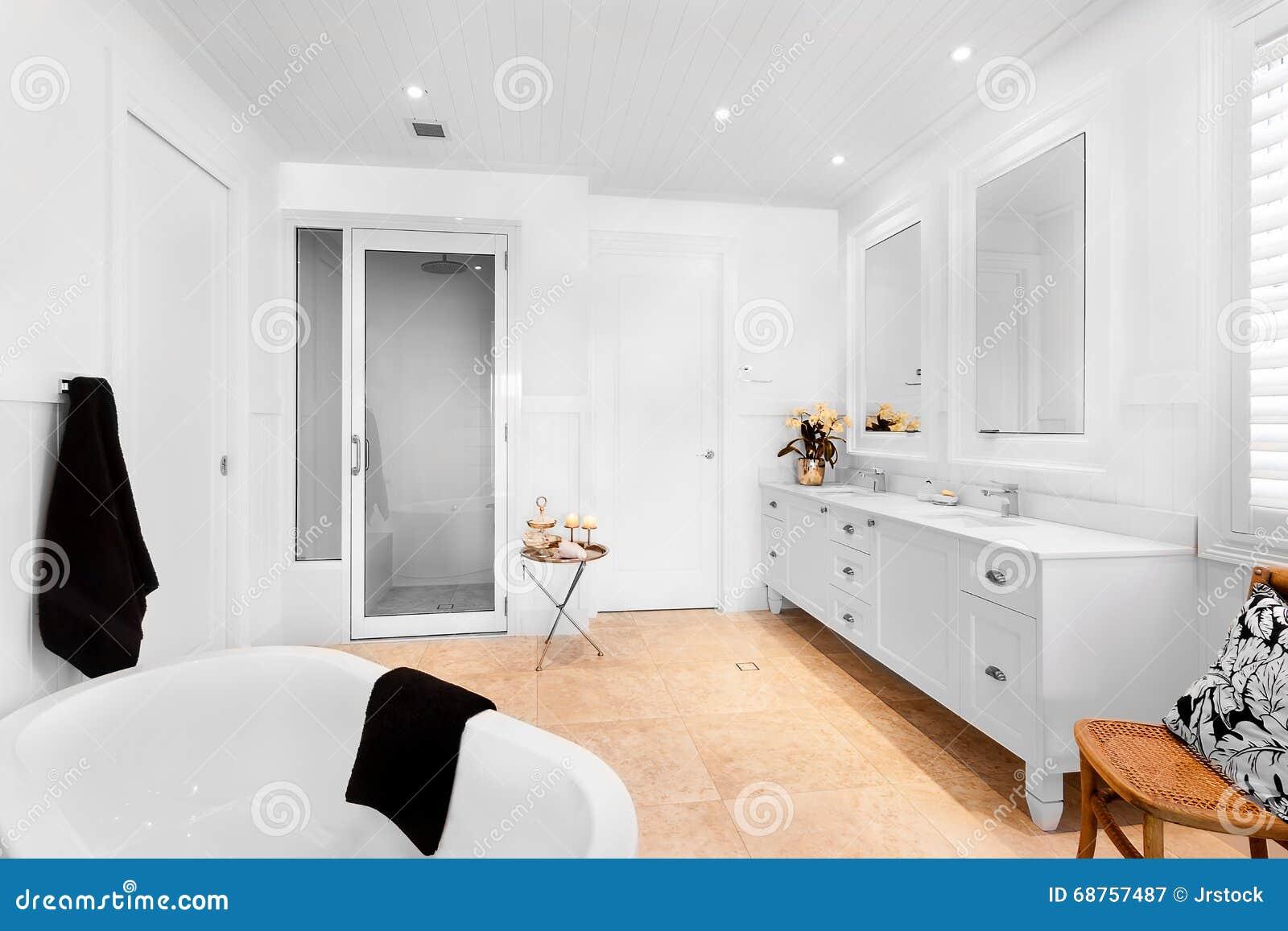 Vasca Da Casa : Bagno della casa di lusso che ha vasca da bagno vuota immagine