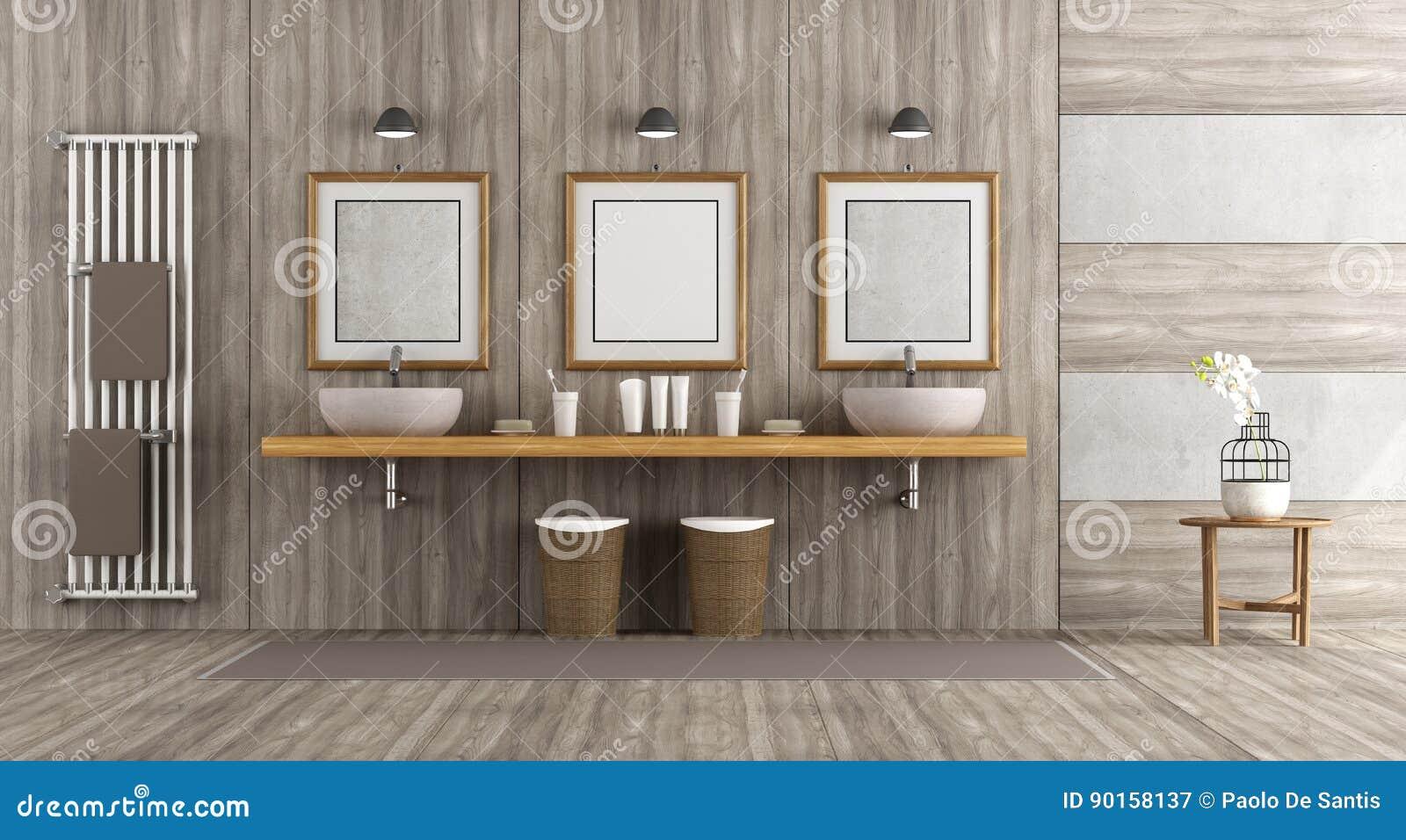 Bagno Legno E Grigio : Bagno di legno e concreto minimalista illustrazione di stock