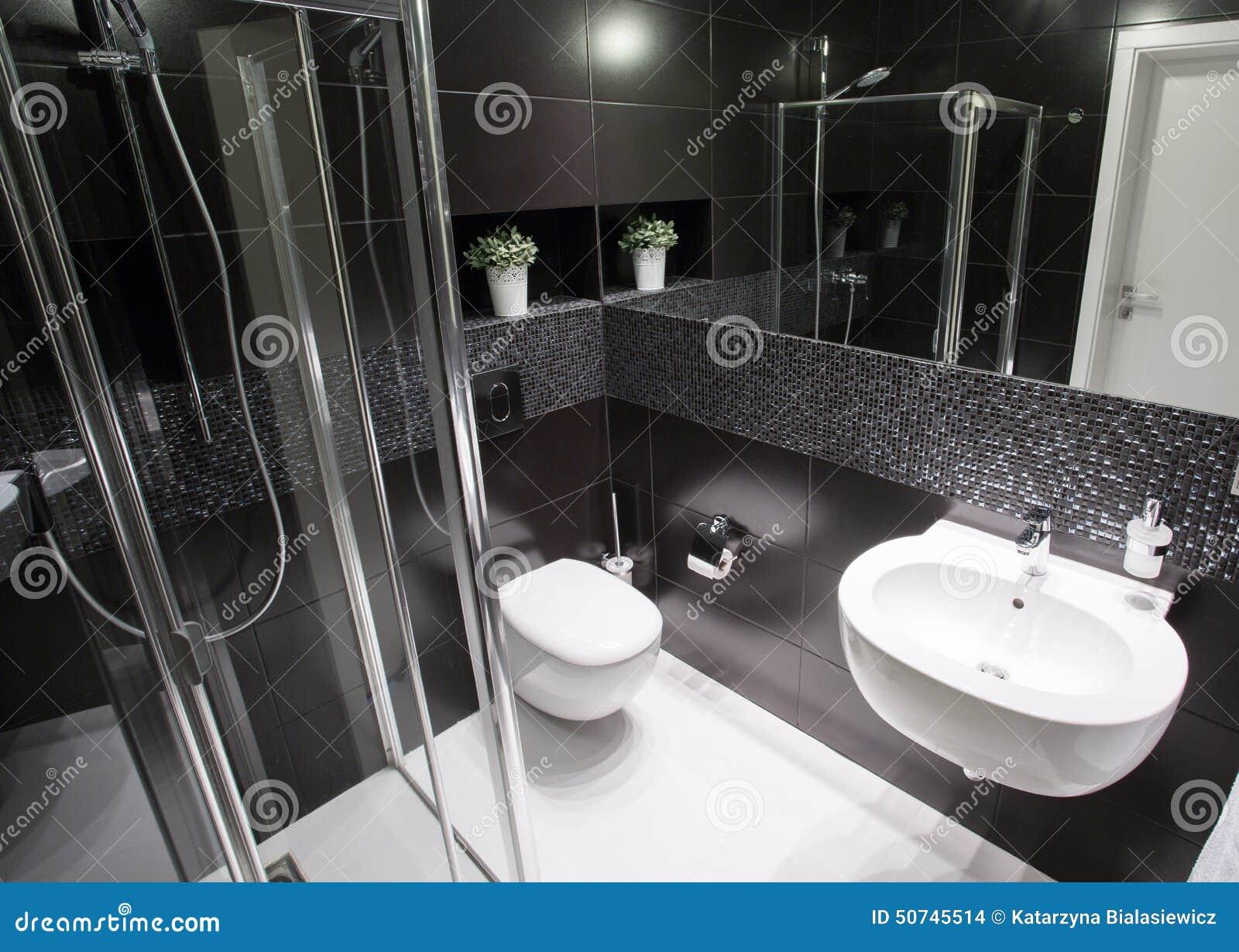 Bagno di lusso con la doccia fotografia stock immagine for Bagno padronale di lusso