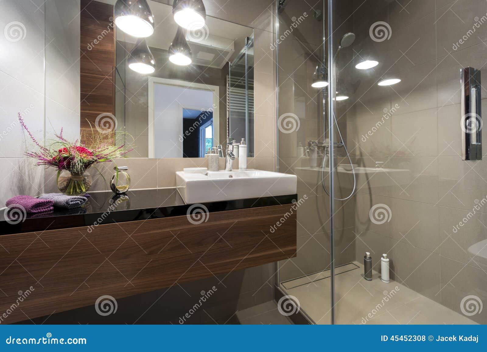 Bagno Di Lusso Moderno Con La Doccia Fotografia Stock - Immagine: 45452308