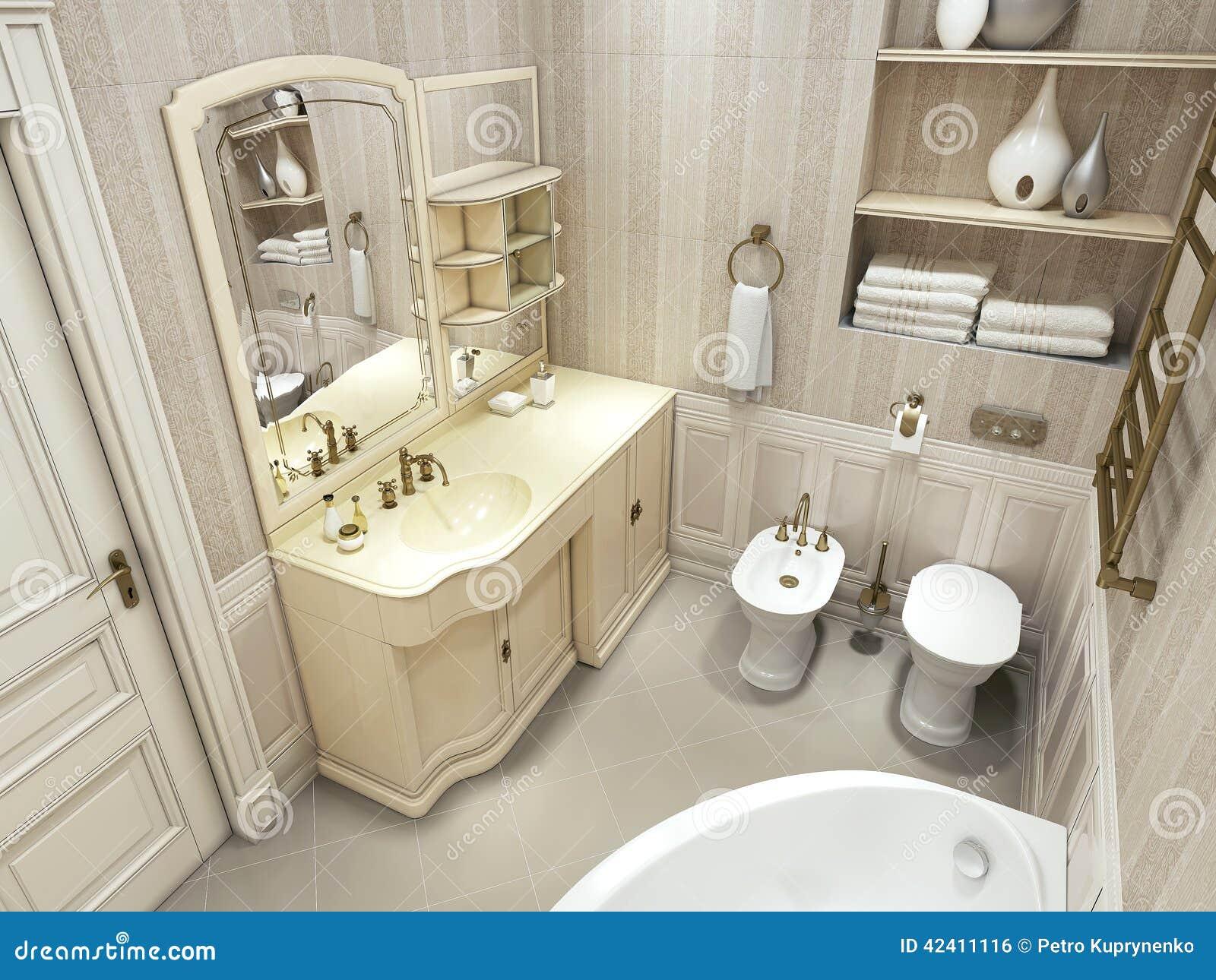 Bagno di lusso stile classico illustrazione di stock for Arredamento classico lusso