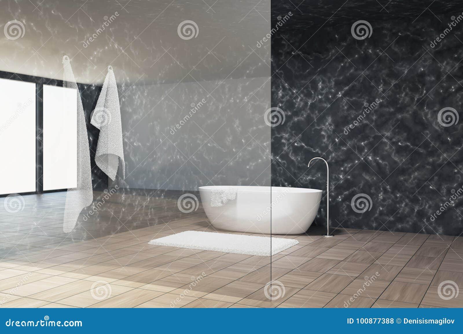 Bagno di marmo interno parete di vetro vasca illustrazione di