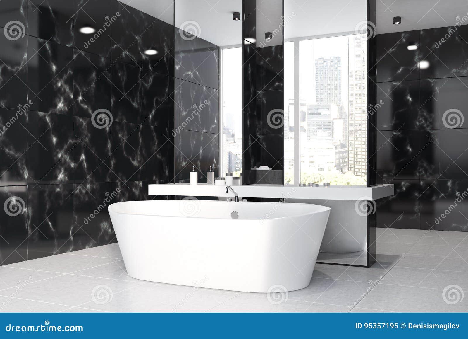 Bagno Di Marmo Nero Lavandino Vasca Lato Illustrazione Di Stock