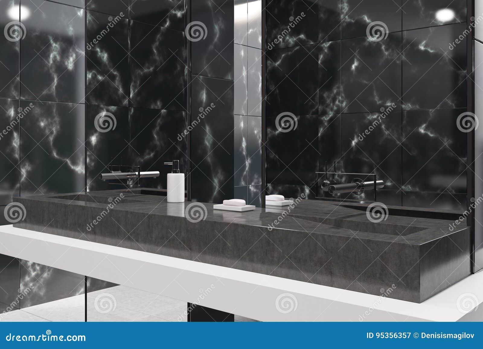 Bagni In Marmo Nero : Bagno di marmo nero panoramico primo piano illustrazione di stock