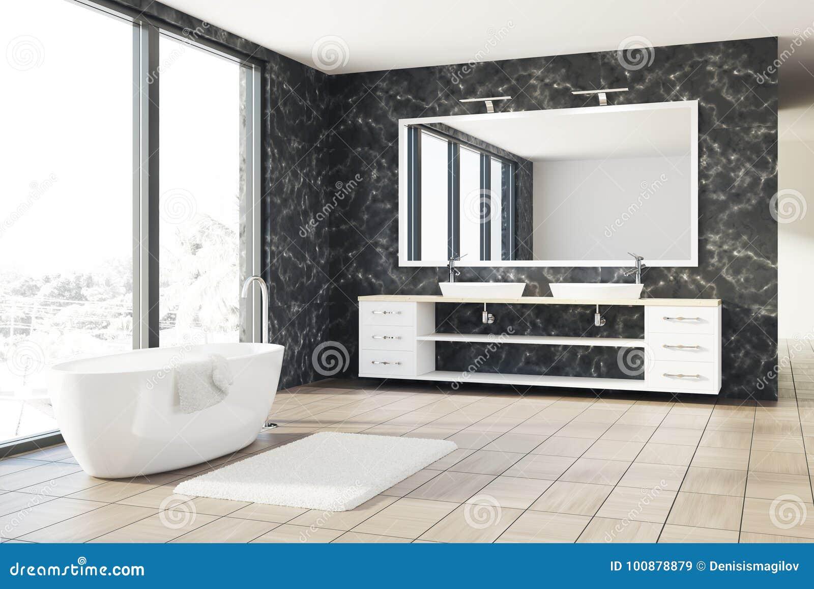 Bagno di marmo vasca bianca lavandino illustrazione di stock