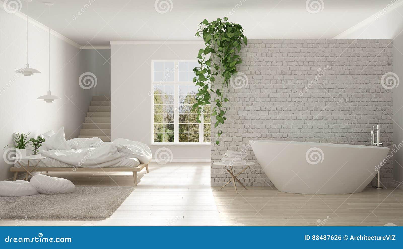 Bagno Aperto In Camera : Bagno e camera da letto minimalisti bianchi scandinavi spazio